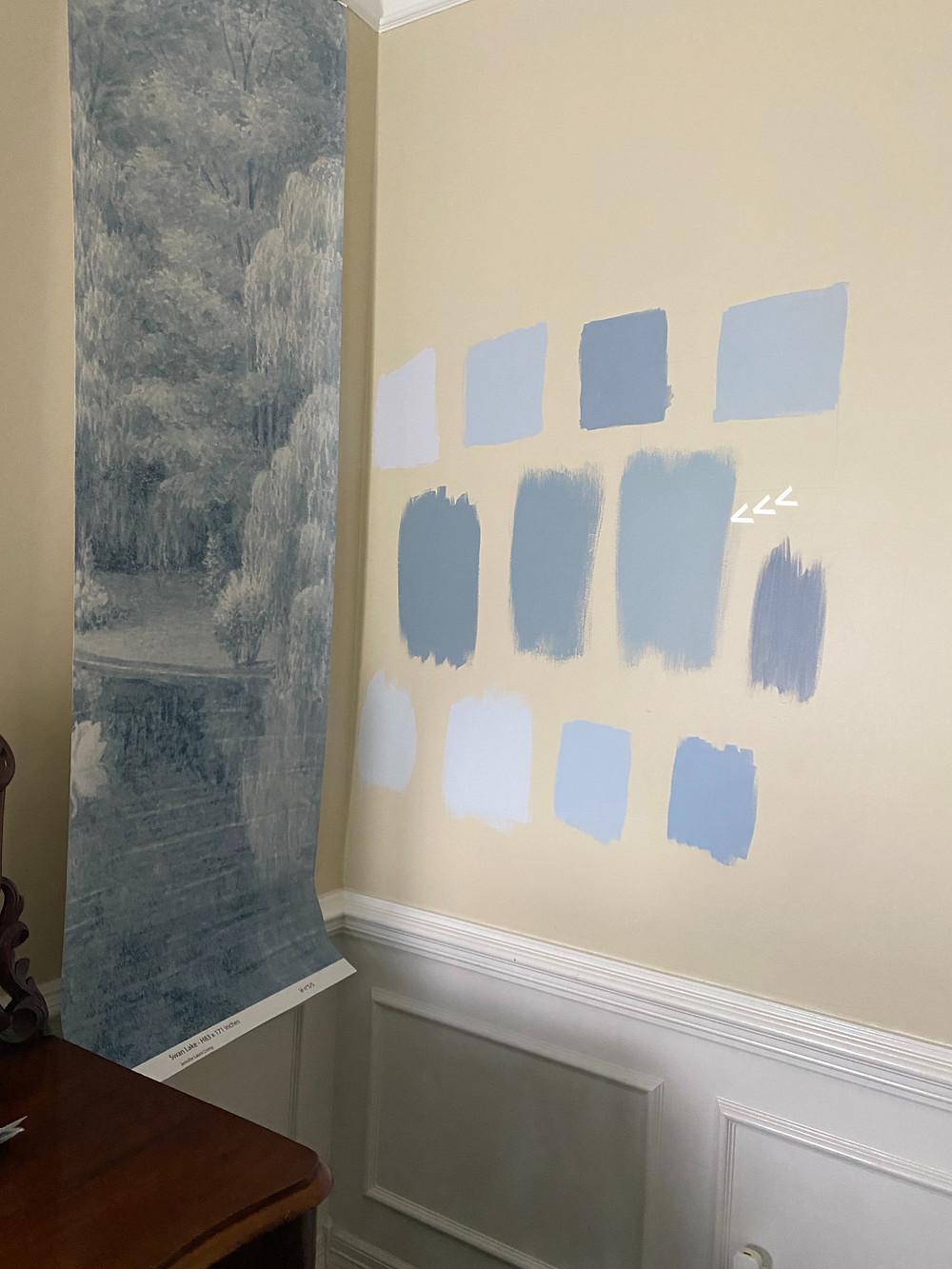 papiers de paris swan lake, blue historical wallpaper
