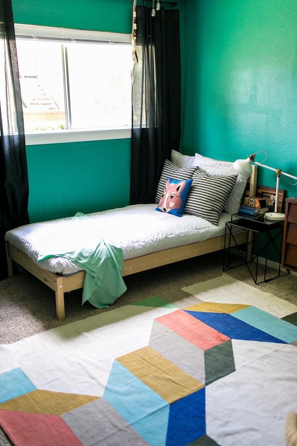 modern green bedroom design- big boy room