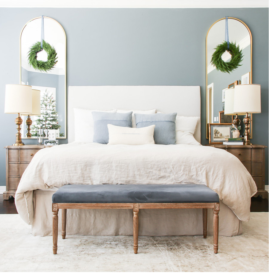 dusty Blue and neutral Christmas bedroom decor