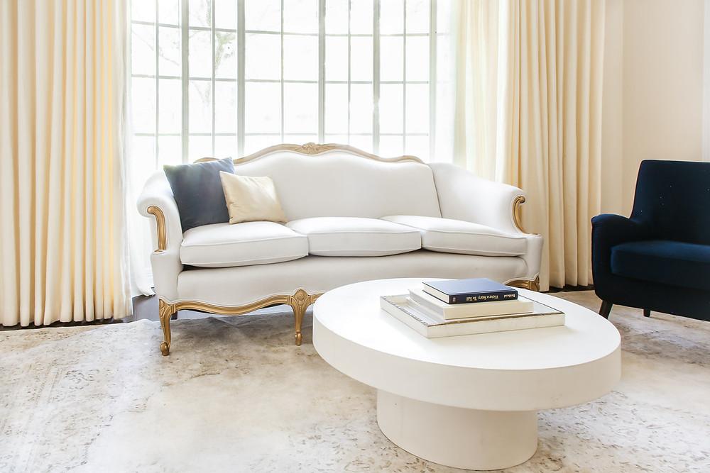 grandmillenial living room french sofa