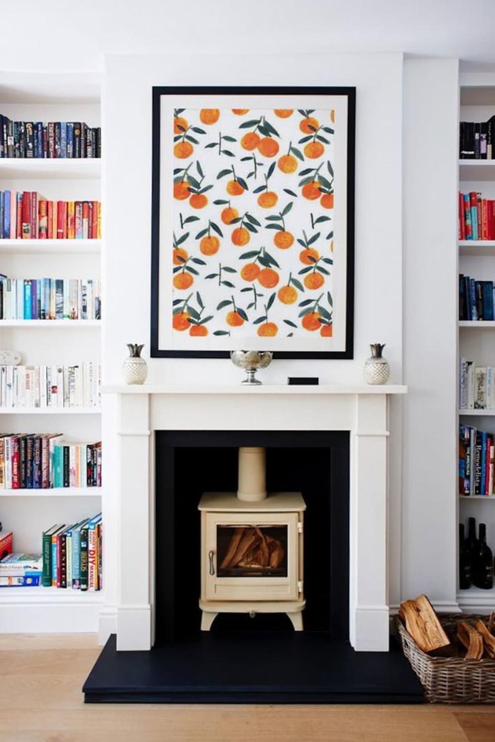 wallpaper framed as art for interior design
