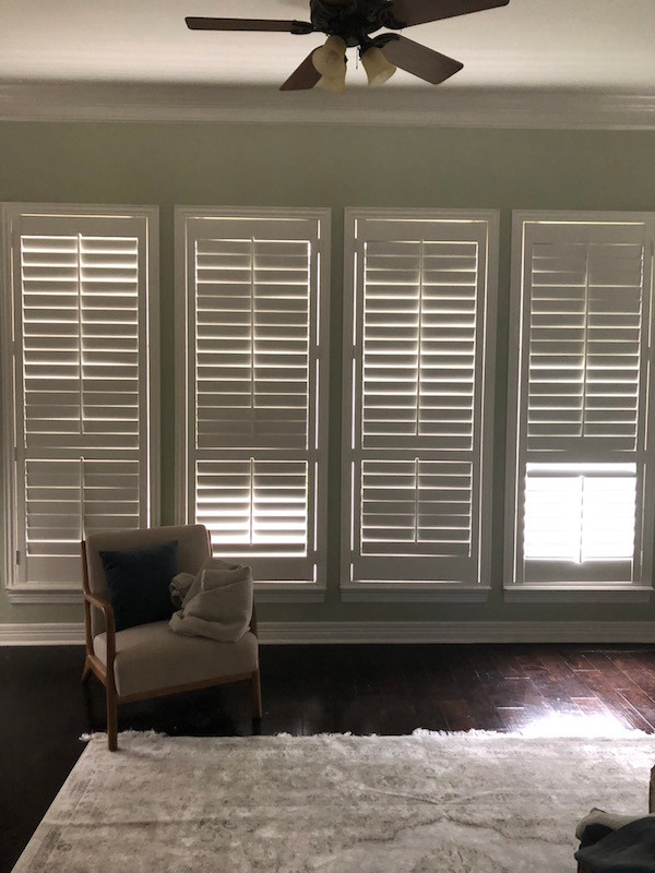 wall of plantation shutters