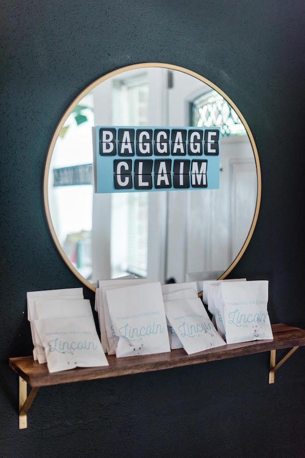 paper airplane kid party ideas- baggage claim party favors