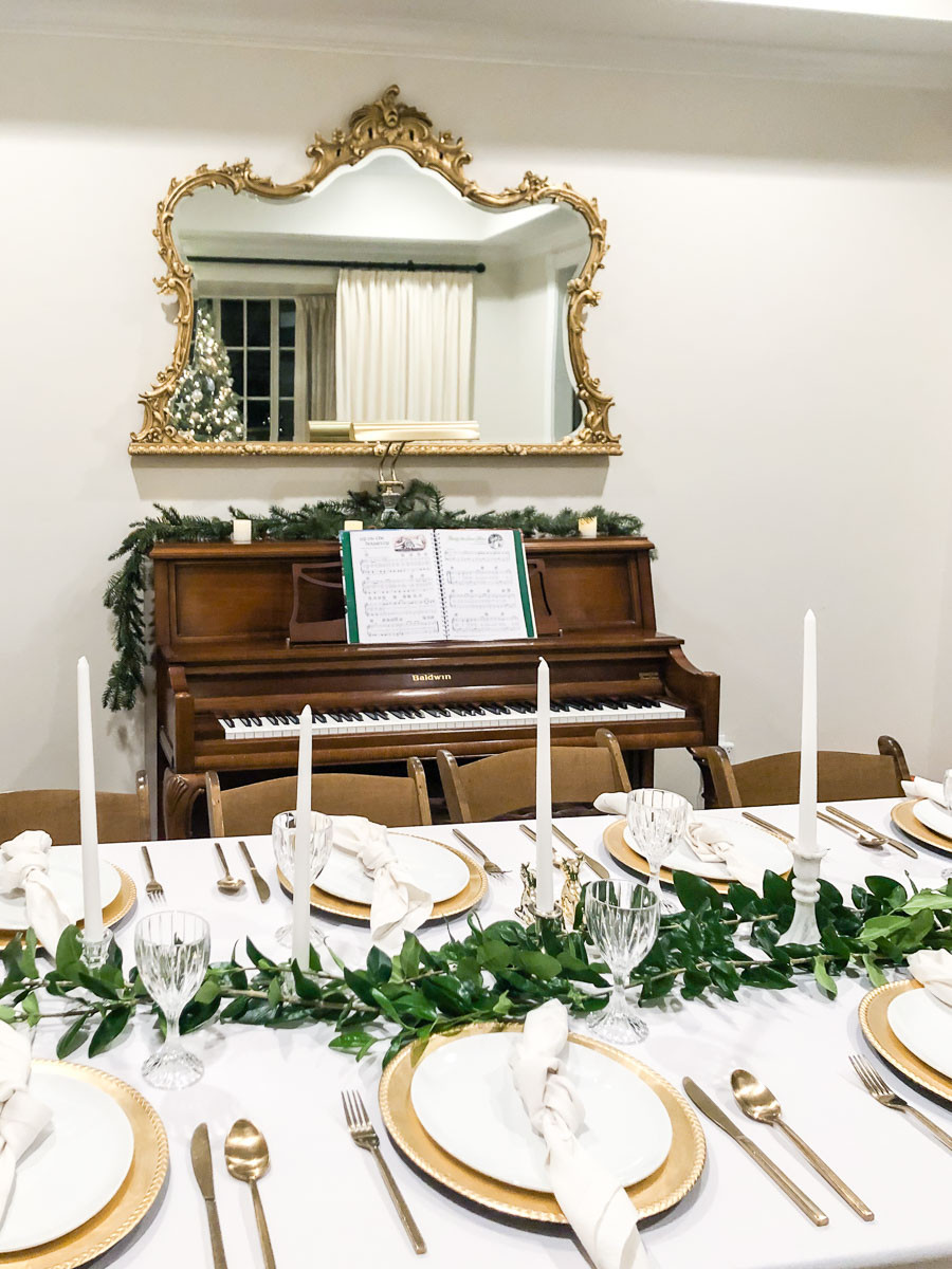 white and gold christmas living room