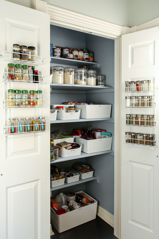 pantry organization tips for deep shelves, farrow and ball parma gray