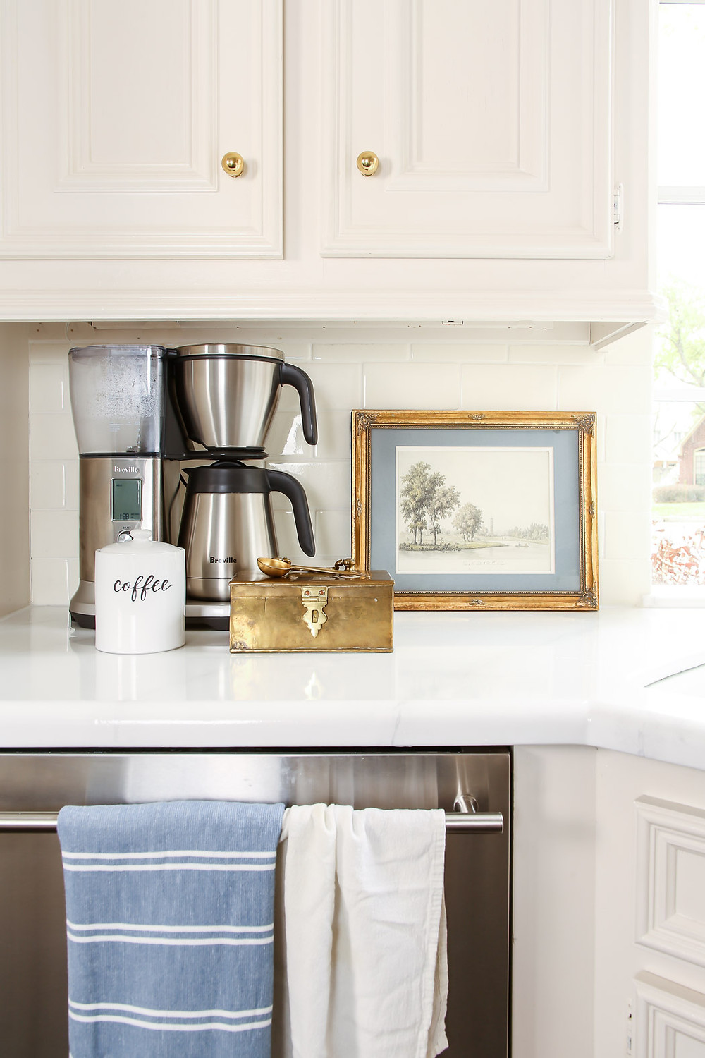 coffee station, grandmillenial, brass and marble kitchen inspiration