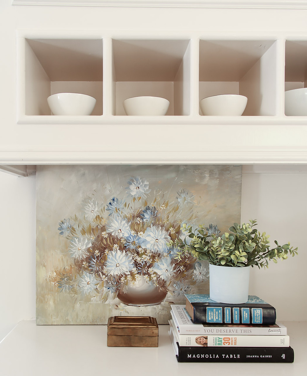 blue floral painting