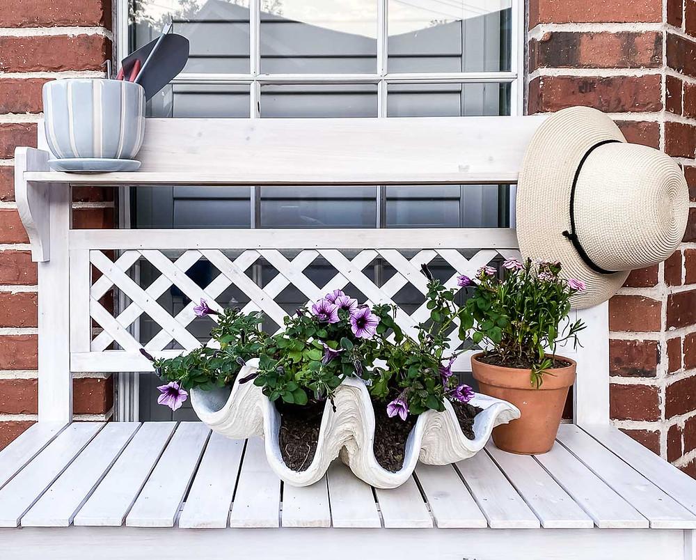 pretty white lattice garden workstation, clamshell planter