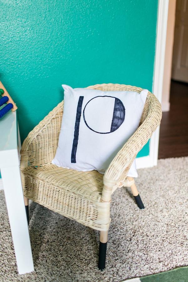 modern green bedroom design- big boy room, diy pillow