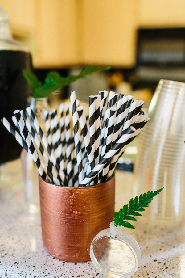 Puppy Dog Birthday Party Ideas- black and white striped straws