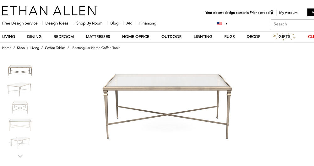 ethan allen gold coffee table