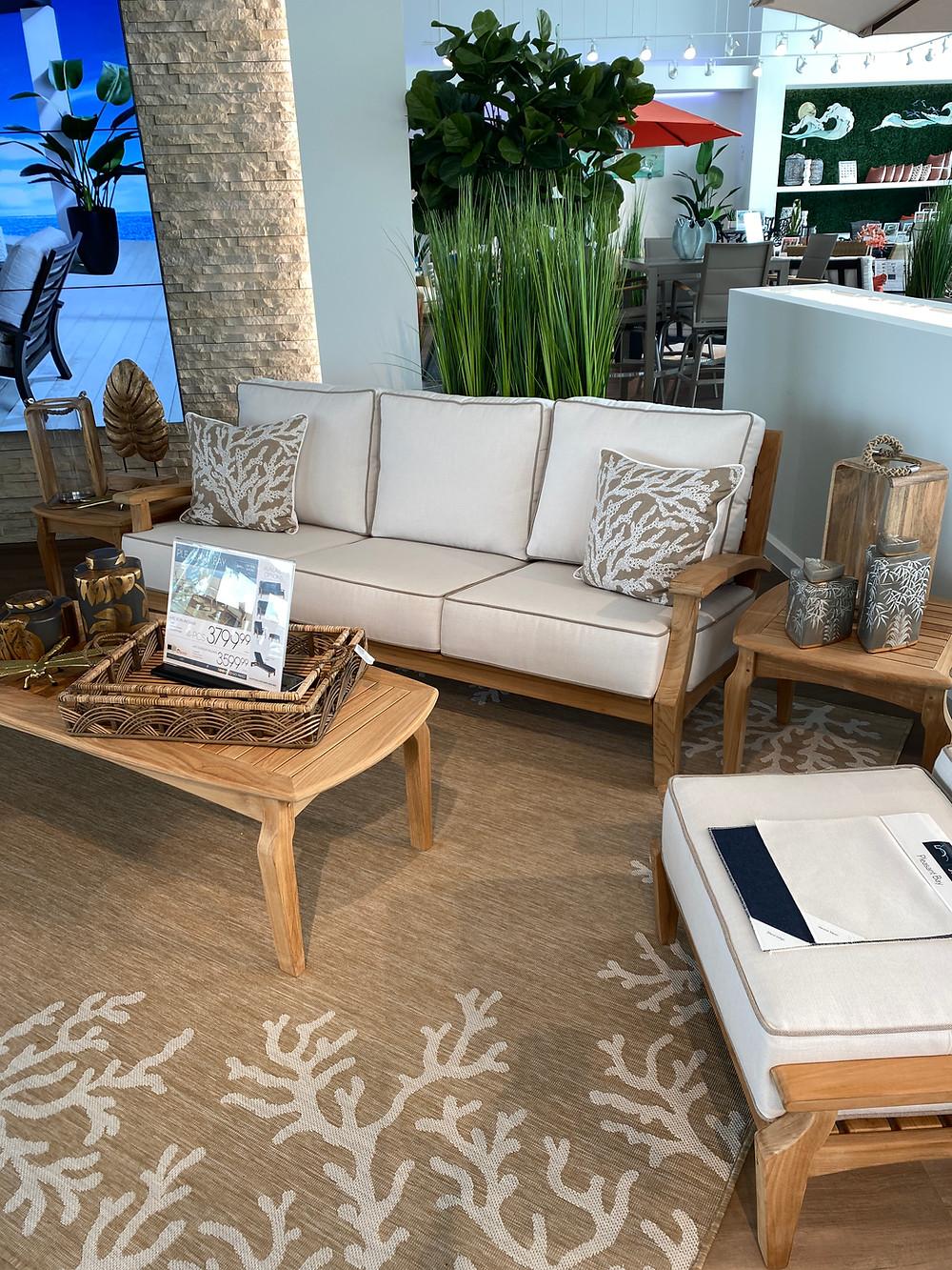 rooms to go patio pleasant bay teak tan outdoor sofa