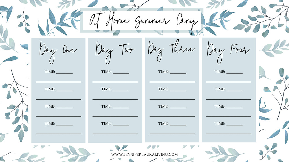 make your own at home summer camp schedule, free printable
