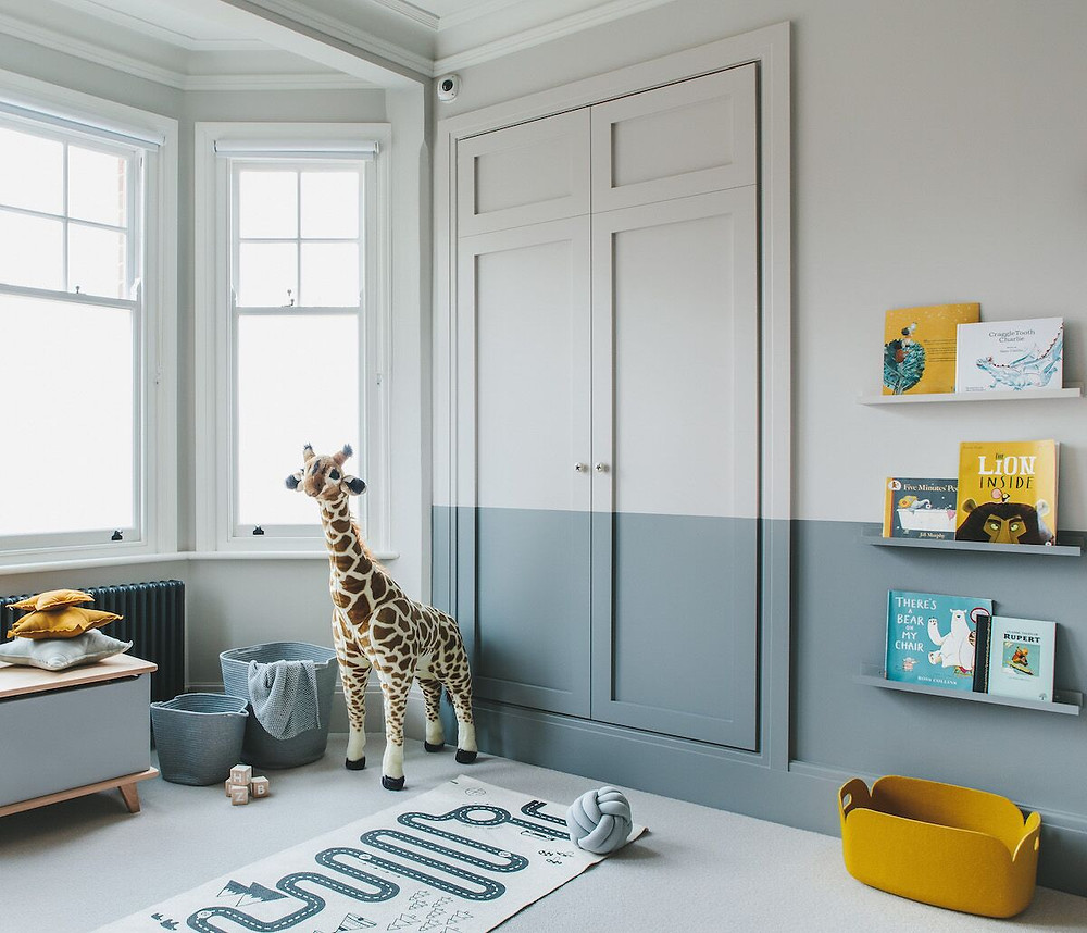 blue and grey painted wall
