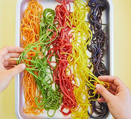 at home summer camp- rainbow spaghetti