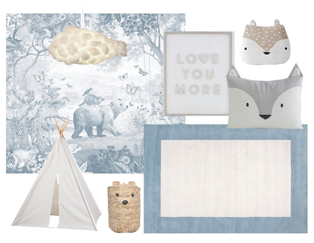 whimsical woodland blue boy room design mood board
