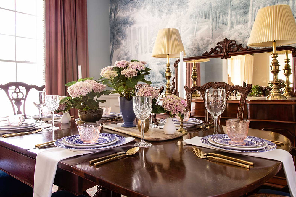 blue and pink grandmillenial inspired dining room