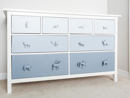 Ikea Hemnes Hack- an ombre blue woodland dresser