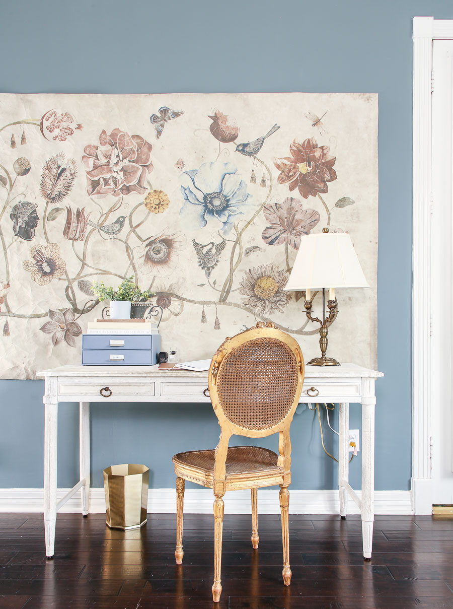 anthropologie vase of wonder tapestry, desk area