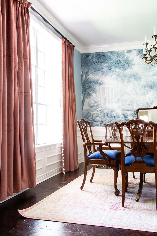 grandmillenial dining room inspiration, curtain fail