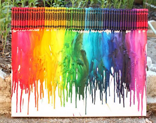 at home summer camp- melted crayon art