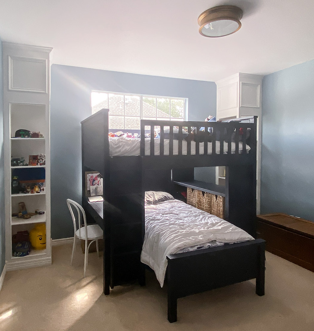 pottery barn charlie bunk bed, sherwin williams debonair, and built in shelves in kids room
