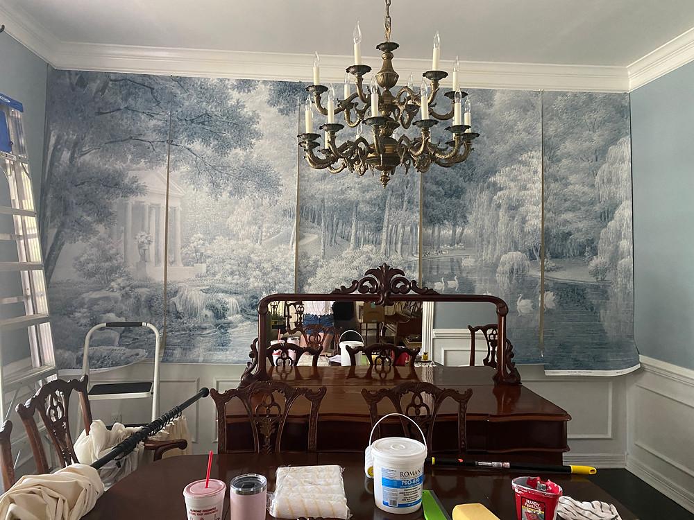 blue historical mural wallpaper dining room, chippendale dining furniture, sherwin willisams debonair
