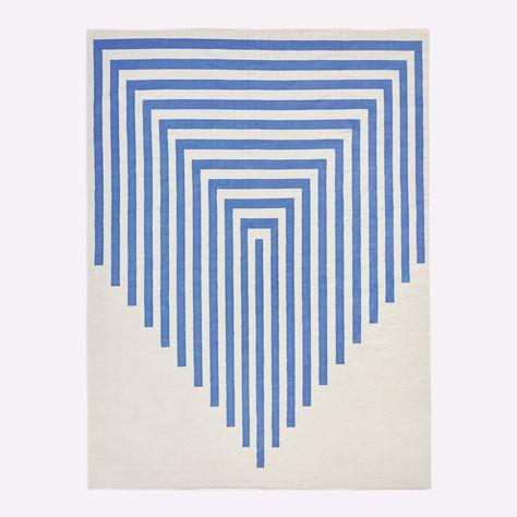 blue striped rug