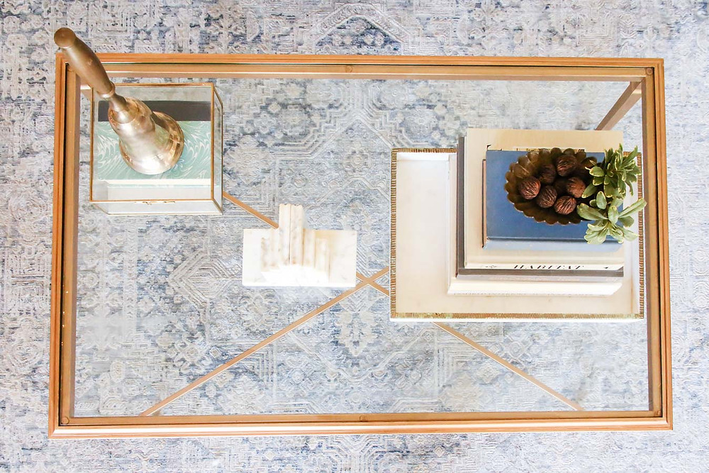 how to update bad brass with rub n'buff, styled brass coffee table