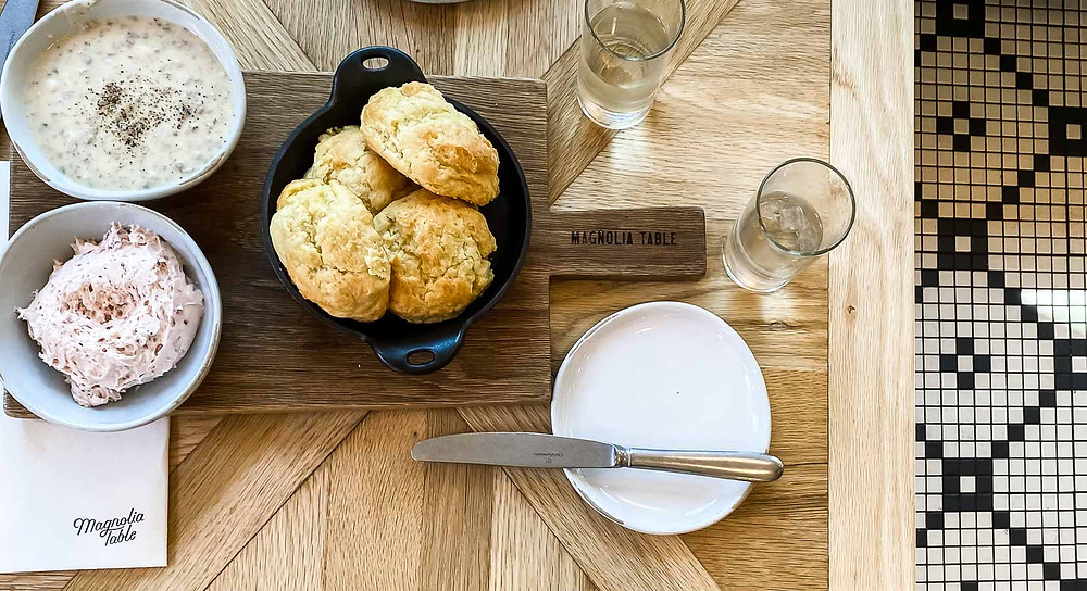 Magnolia Table biscuits and strawberry butter, Magnolia Market and Silos trip planning information, how to plan a trip to magnolia
