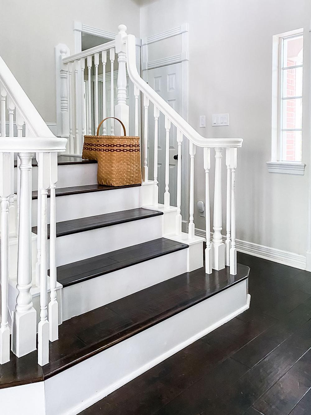 antique staircase basket