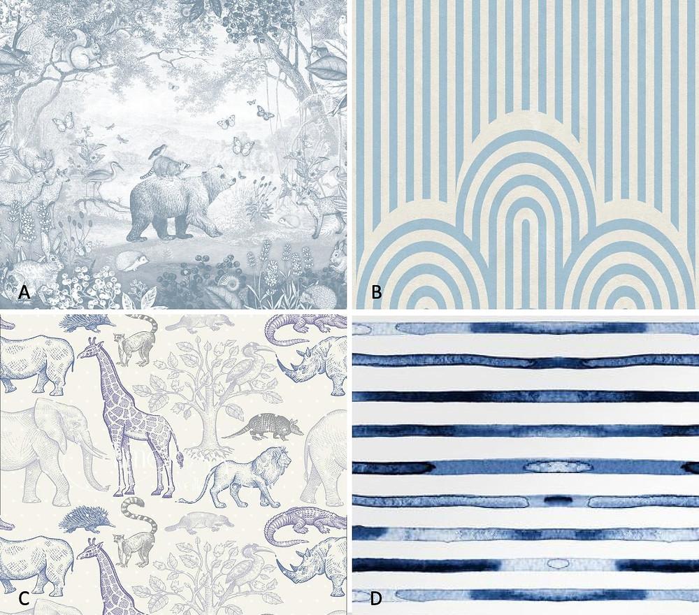 blue boys room wallpaper options
