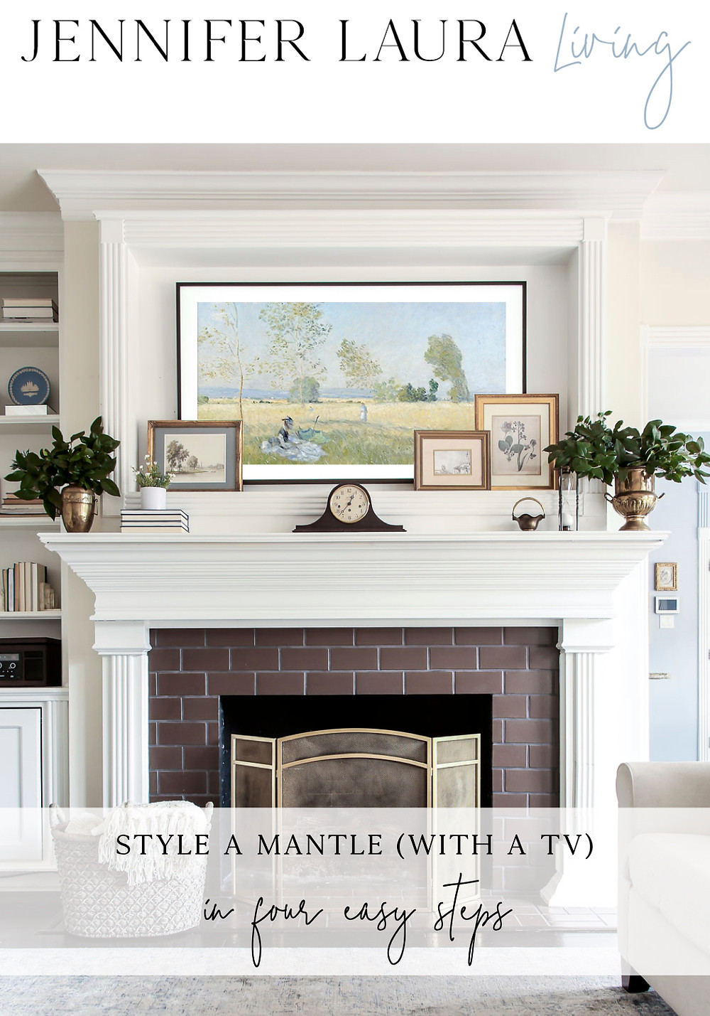 how to style a fireplace mantle with a tv