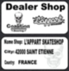 Roulement à billes skate  Coalition Bearing L'APPART skateshop officiel dealer shop coalition bearing