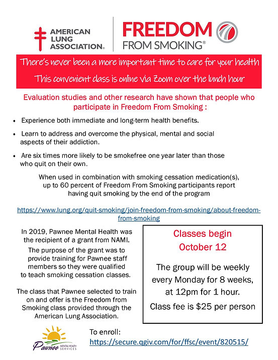 Freedom from Smoking flyer Oct 12 class.