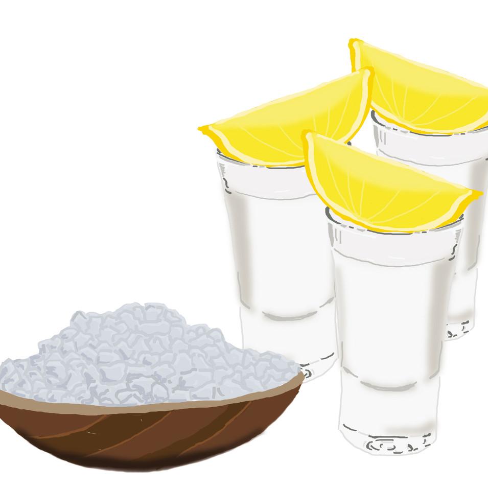 Tequila, Zitrone und Salz