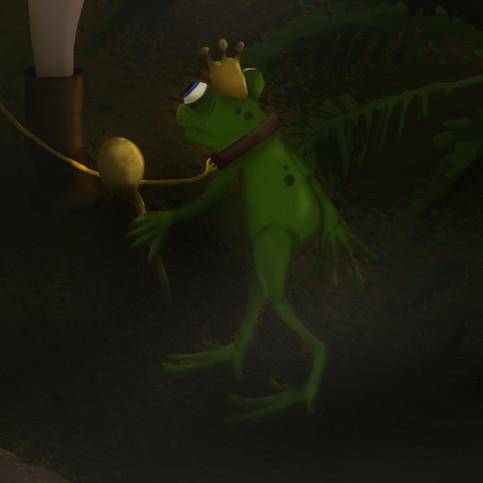 Der Froschkönig, Detail Frosch
