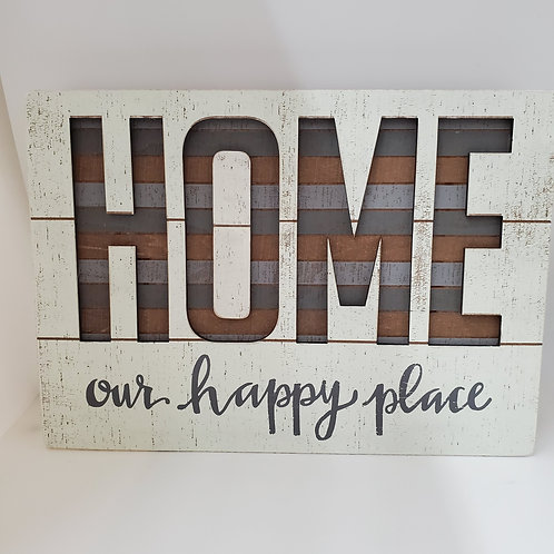 Home Is Our Happy Place Wood Plaque