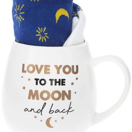 Love You To Moon And Back 15 oz Mug And Sock Set