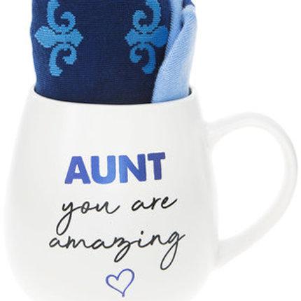 Aunt 15 oz Mug And Sock Set