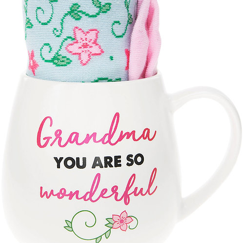 Grandma 15 oz Mug And Sock Set