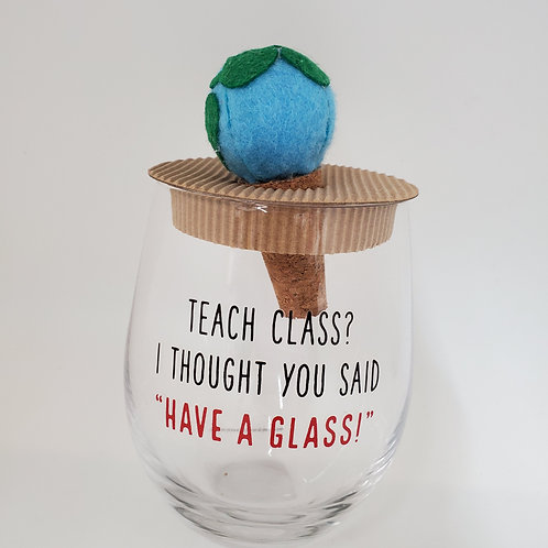 Mud Pie Teacher Stemless Wine Glass With Cork Stopper