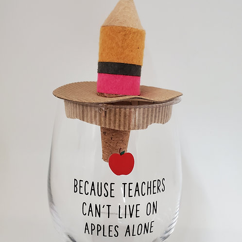 Mud Pie Teacher Wine Glass And Wine Stopper Cork