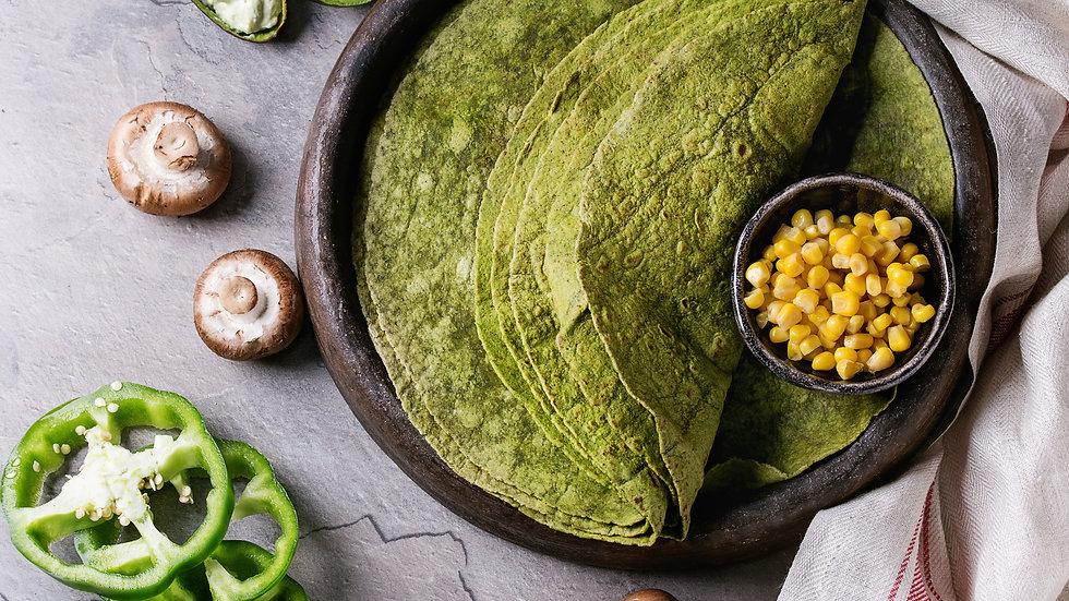 """Spinach Tortilla Wraps 12"""" (30cm) x 18pcs"""