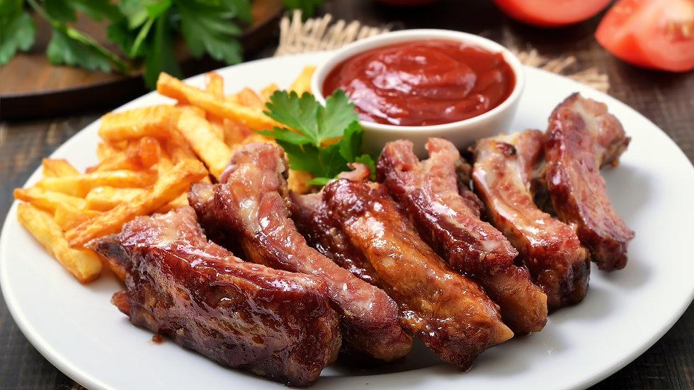 Pork Ribs Cooked in BBQ Sauce (5 individual Bones) Frozen x 20 Ptns