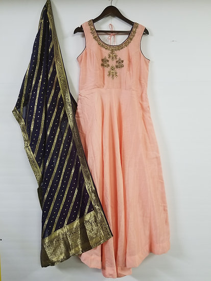 Gown with Banarasi Dupatta