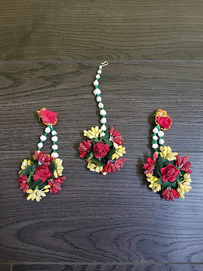 Artificial Flower Earring with Maang Tikka