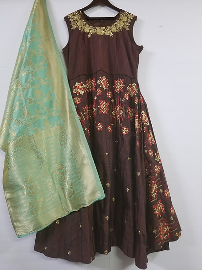 Gown with Banarasi Dupatta