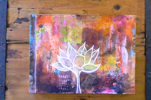 Rustic, Stitched White Lotus
