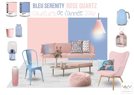 planche tendance couleur bleu serenity rose quartz vandesign Martinique décoration d'intérieur